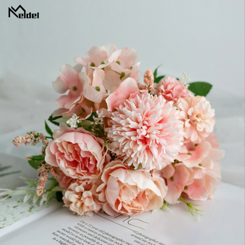 Meldel Fake Flower Bouquet 7 Heads Hydrangea Flowers Artificial Bouquet Silk Blooming Rose Peony Pompon Bride Wedding Decoration