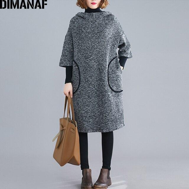 DIMANAF زائد حجم النساء اللباس خمر الخريف الشتاء سميكة كبير جدا فضفاض الإناث Vestidos عارضة مقنعين جيوب الركبة طول اللباس