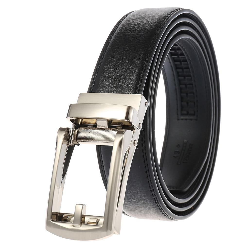 Men Women Automatic Buckle Waist Belt Strap Casual Business Leather Waistband