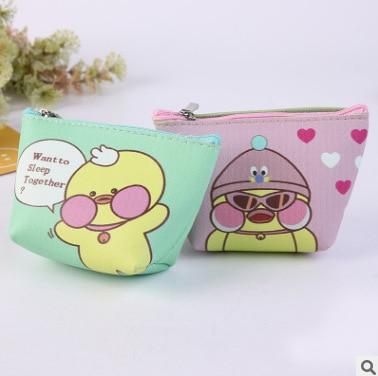 Cartoon Simple Korean-style Purse Women's Mini Coin Bag Wallet Women's Short Fabric Coin Pocket PU Leather