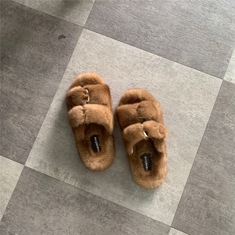 European Station Best Selling Ladies Slippers Luxury Fashion Fur Mink Slippers Ladies Soft And Comfortable Flat Shoes Home Shoes