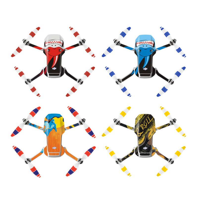 1Set Colorful PVC Stickers Waterproof Skin Body Arm Remote Control Protector Art Decals For DJI Mavic Mini Drone Accessories