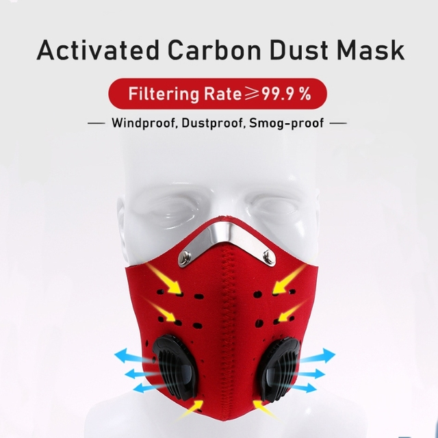 1pcs Personal Motorcycle Face Mask for Mouth Black Reusable Face Mask washable Activated Carbon Filter Respirator Cycling Masker 2