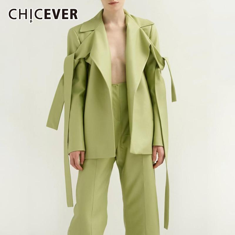 >CHICEVER Lace Up PU Leather Women's Two Piece Set Lapel Collar Long Sleeve Coat <font><b>Split</b></font> <font><b>Pants</b></font> <font><b>Suit</b></font> Female 2019 Autumn Fashion New
