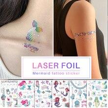 Tatuagem falsa folha de laser metal sereia tatuagens glitter ouro tatuagem adesivos tatuagem temporária para a menina presente rosto decoração