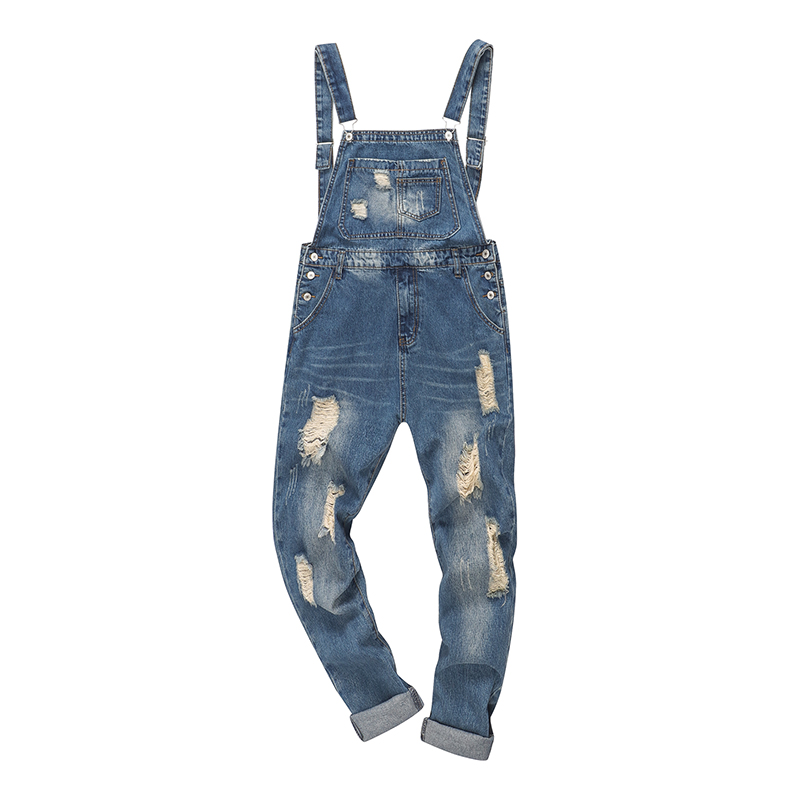 Sokotoo Men's Ankle Length Holes Ripped Denim Bib Overalls Distressed Jeans Coveralls For Youth
