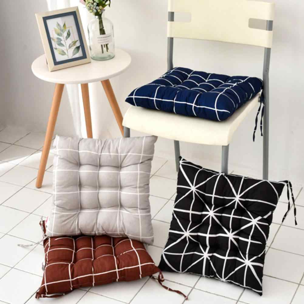 40x40cm Soft Square Stripe Seat Cushion Back Cushion Tie on Chair Cushion Car Pad Pillow for Home Office