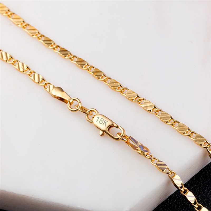 זהב-צבע Electroplated 2MM יוניסקס שרשרת שטוחה שרשרת בעבודת יד אביזרי תכשיטי לובסטר אבזם collares שרשראות לנשים