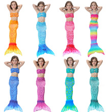2020 Kids Girls Mermaid Tail with Fin Swimsuit Bikini Bathing Suit Dress for Girls clothes for Swim Cosplay Costume