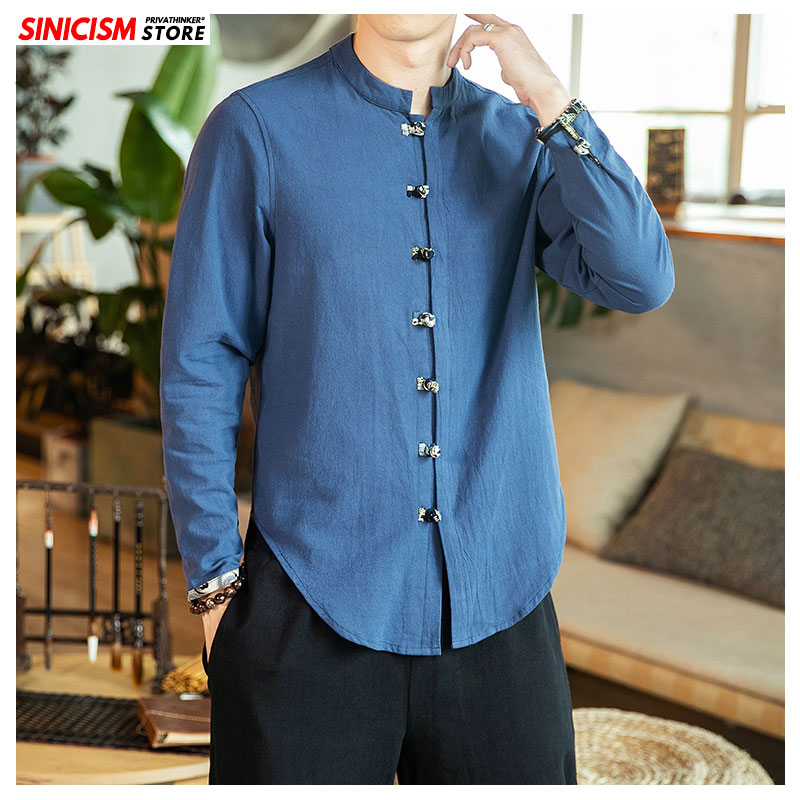 Sinicism Store Men's Solid Long Sleeve Shirts Men 2019 Autumn Vintage Chinese Style Clothes Male Oversize Mandarin Collar Shirt