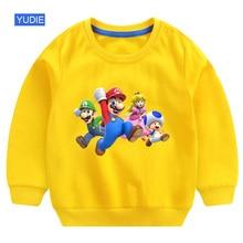 white sweatshirt for boy baby girl super mario Casual Sweatshirts Clothing  2019 autumn children toddler Cotton 4T