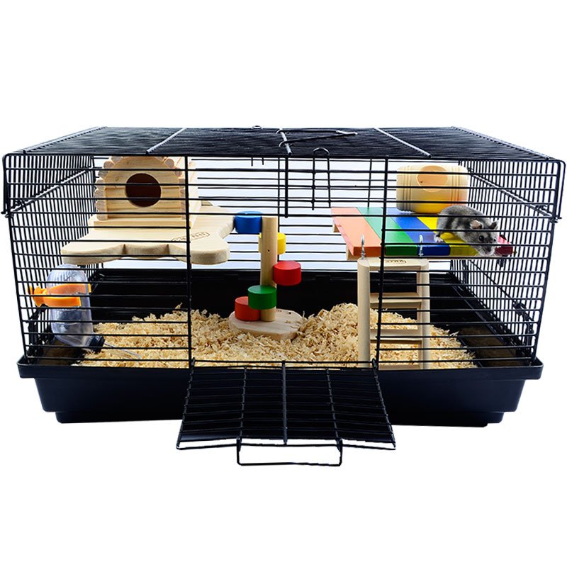 Pet Products Hamster Golden Silk Bear Guinea Pig Basic Iron Cage To Prevent Bite Made By Wood With Kettle And Food Bowl