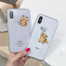 Phone Case for iPhone 6 6s 7 8 Plus X XS XR XS Max 11 Pro max Soft TPU cartoon Pikachue transparent Protective Shell Back Cover glow in the dark protective tpu pc back case for iphone 5 green transparent