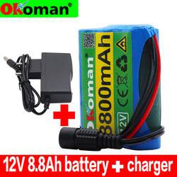 Original Protection Plate 12v Battery Pack 12V 8800mAh 18650 Lithium Ion DC12.6V Super Rechargeable Battery + 12.6v 1A Charger