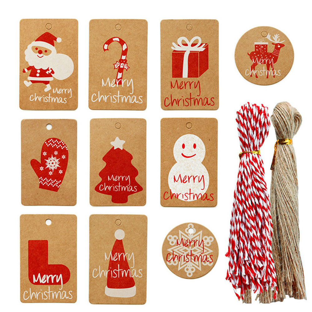 50pcs Kraft Paper Christmas Gift Tag Labels Christmas Tree Hanging Decoration