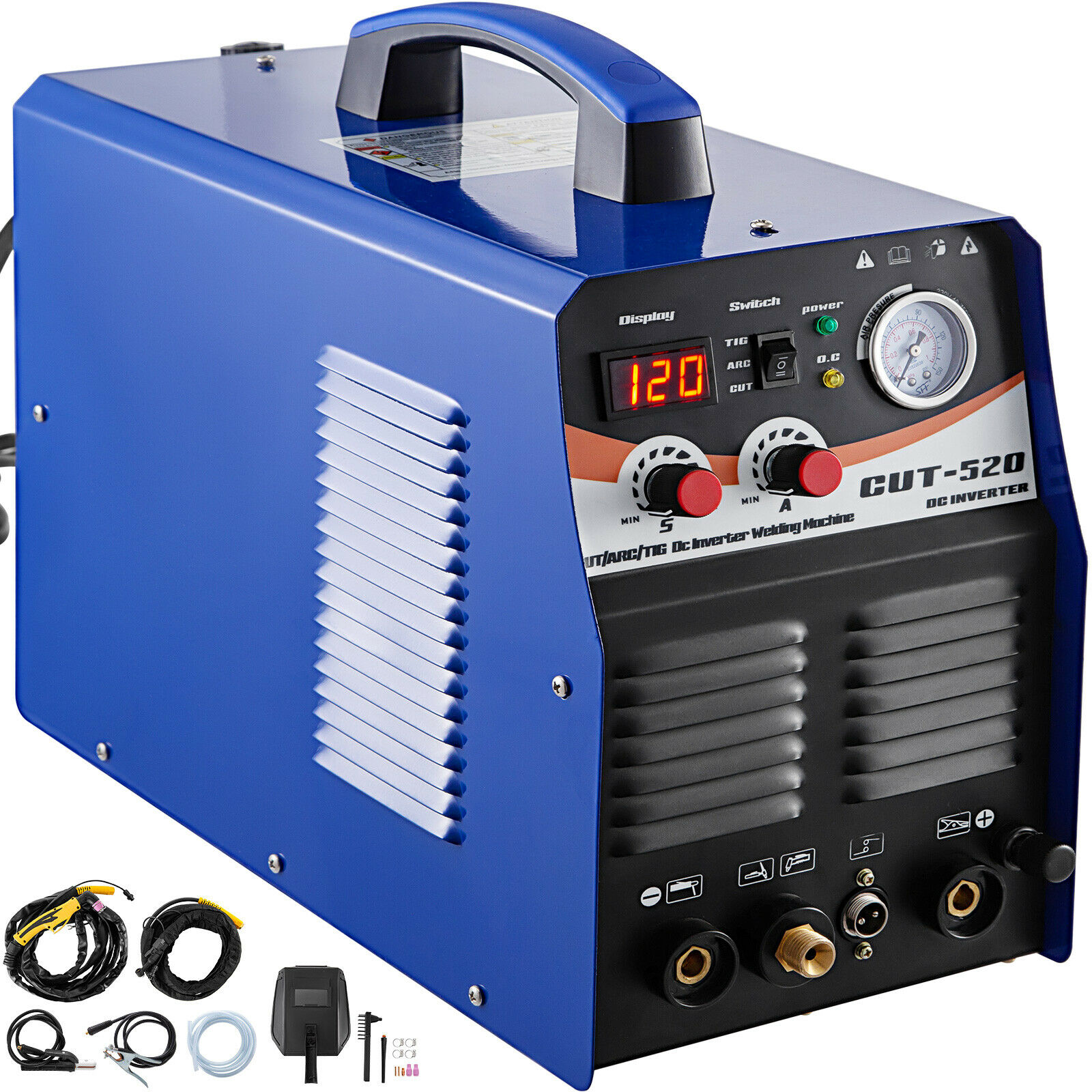 TIG/MMA Plasma Cutter CT520 3 In 1 Combo Welding Machine Tig Welder 200A Arc Welder 200A Plasma Cutter 50A 110V 220V