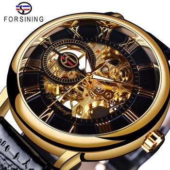 Forsining 3d Logo Design Hollow Engraving Black Gold Case Leather Skeleton Mechanical Watches Men Luxury Brand Heren Horloge 1