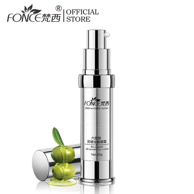 FONCE Korean Anti Wrinkle Eye Cream 20g Six Peptides Serum Anti Aging Remover Dark Circle Bag Firming Nourish Eye Balm Mask