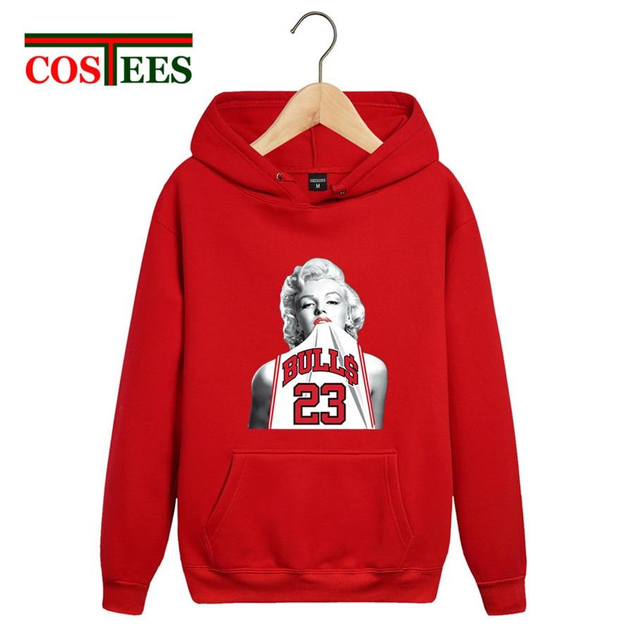 Funny Sex Marilyn Monroe Wearing Michael 23 Unisex Hoodies Chicagos Basket Ball Hooded Sweatshirts Woman Bull Thick Fleece Hoody