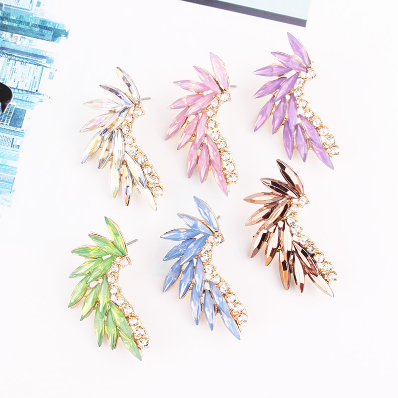 LUBOV 3 styles Colorful Wings Stud Earrings Acrylic Crystal Stone Women Piercing Earrings Trendy Wedding Jewelry Christmas Gift