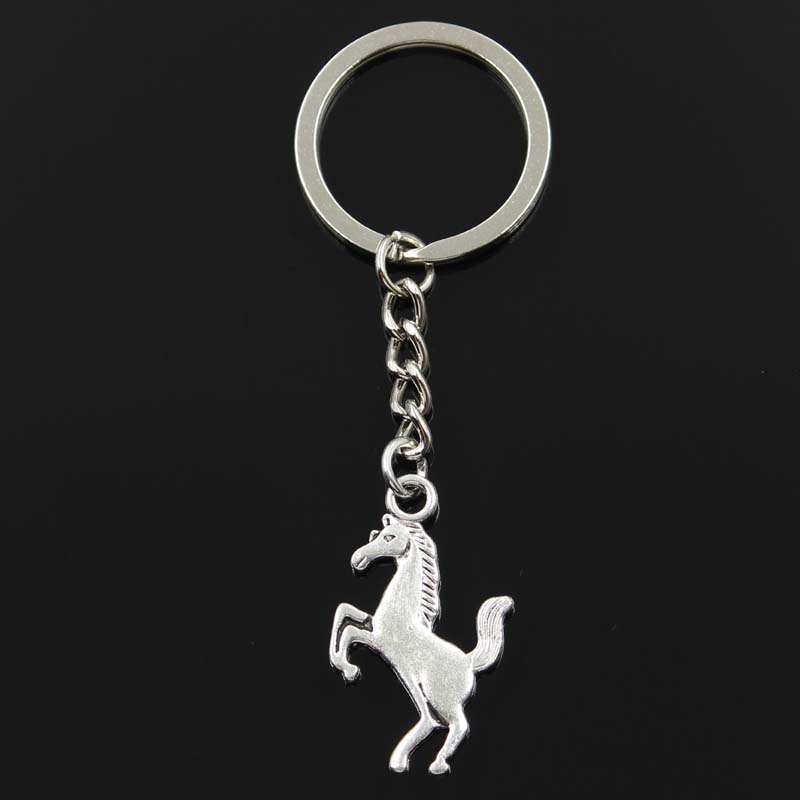 New Fashion Keychain 35x21mm Gallop Horse Steed Pendants DIY Men Silver Color Car Key Chain Ring Holder Souvenir For Gift