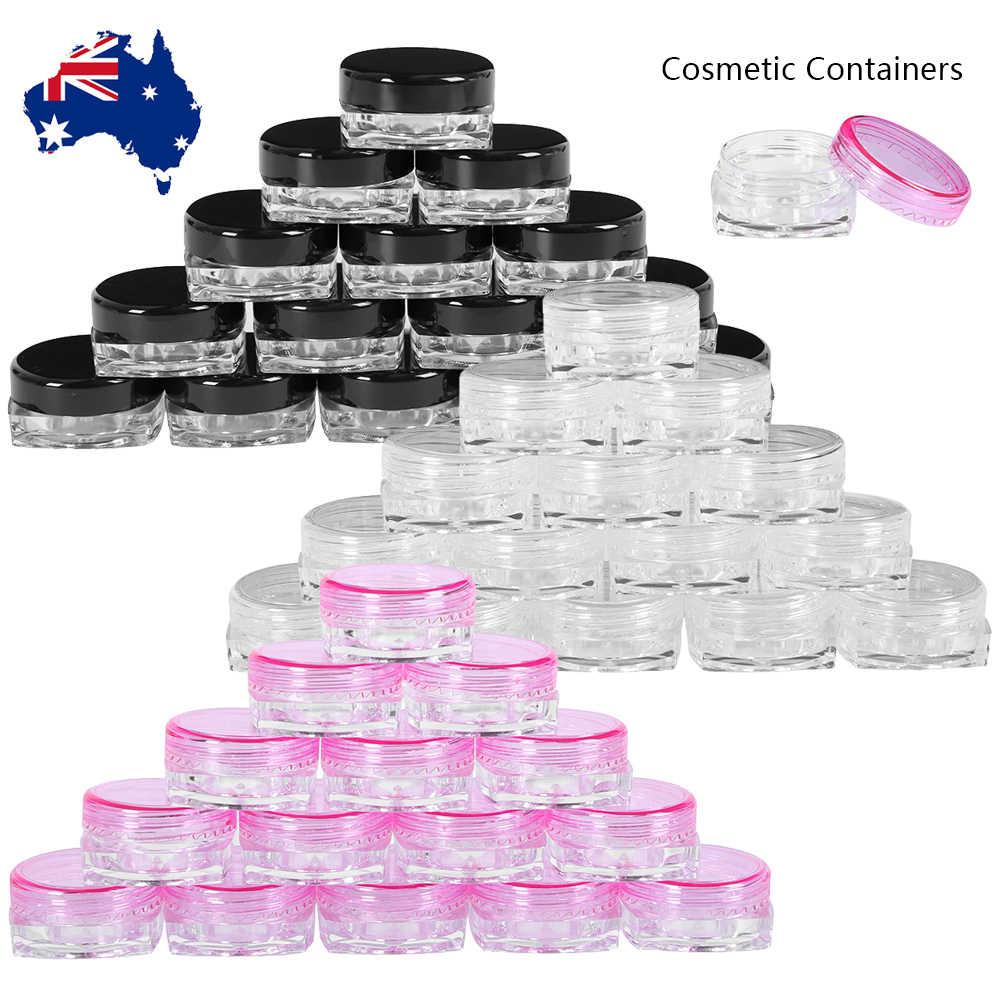 10pcs Mini Cosmetic Bead Empty Cosmetics Nail Art Lip Balm Container Eyeshadow Makeup Storage Round Bottle Portable Nail Bottles
