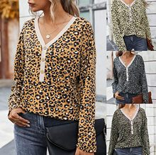 Wanita Leopard Cardigan Sweater Wanita Fashion Patchwork Top Musim Semi 2020 Lengan Panjang Santai Luaran V Leher Tombol Mantel # T2Q(China)