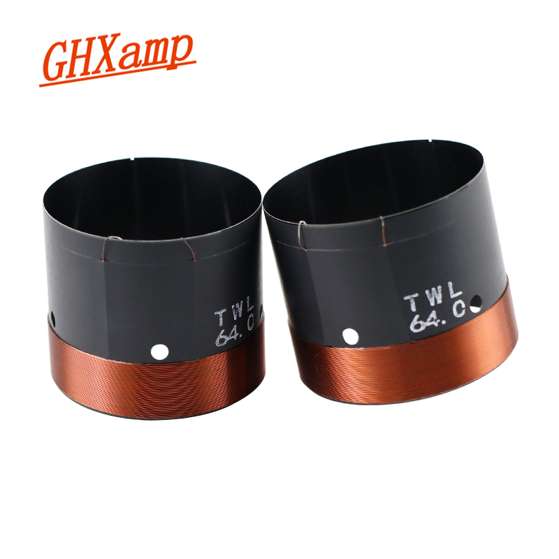 GHXAMP 64MM Bass Voice Coil 6Ohm Woofer Black Aluminum High Power For 15 Inch Woofer Speaker Repair Parts Round Wire 2PCS