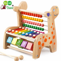 Wood Mom Wooden Toys Multi functional Solid Color Deer Knock Piano Calculation Frame Children Educational Force Beaded Bracelet