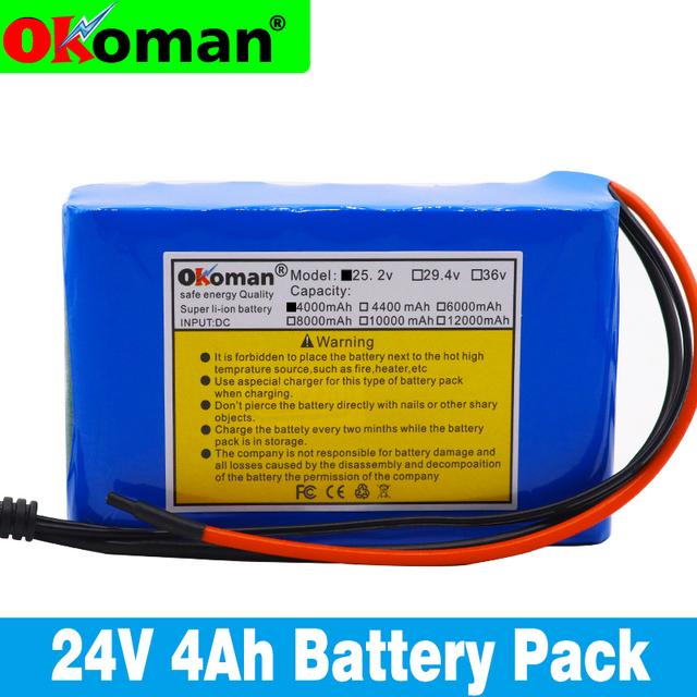 Okoman قدرة عالية 24 فولت 4Ah 18650 بطارية ليثيوم أيون حزمة 25.2 فولت 4000mAh دراجة كهربائية الدراجة/الكهربائية/بطارية أيون الليثيوم حزمة