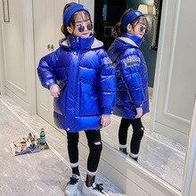 Горячая Распродажа, рождественское теплое зимнее пальто для девочек длинная Детская куртка с капюшоном из искусственного меха, пальто для девочек, верхняя одежда для девочек от 4 до 12 лет