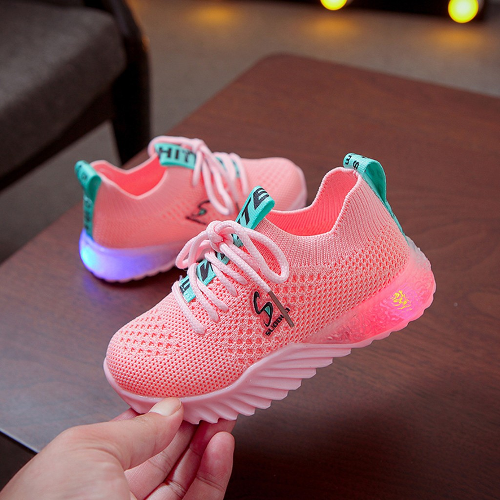 40# Baby Girls Boys Shoes Children's Boys And Girls Letters Flying Woven Fabric Led Light Shoes Casual Sports Shoes Sneakers