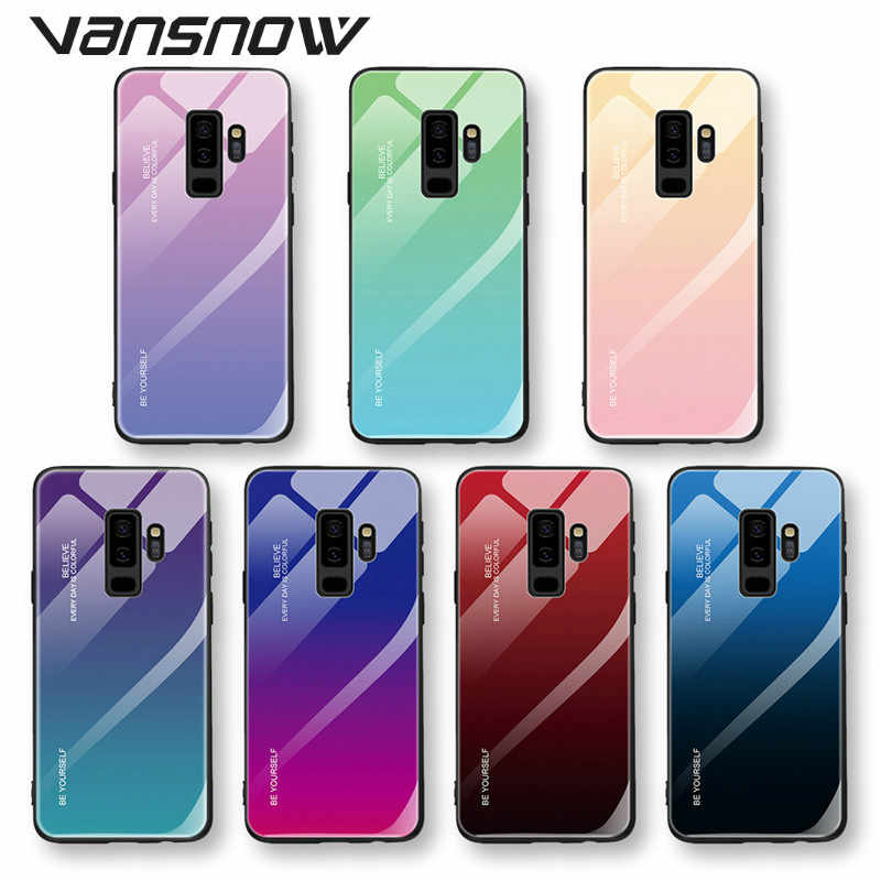 Vansnow Colorful Tempered Glass Phone Case for Samaung Galaxy S10 S8 S9 Plus A30 A50 M20 M10 A5 2017 A6 A8 J4 J6 Plus A9 J8 A7