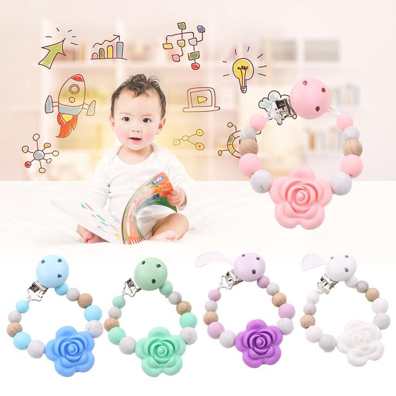 Silicone Baby Pacifier Clips Holder Chain Teething Silicone Pacifier Chains Holder Flower Baby Teether Dummy Clips Dental Toys