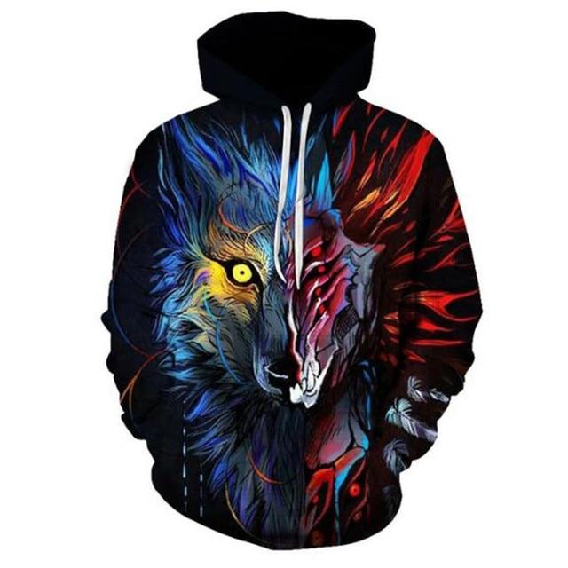 Boys sweatshirts 3D printing mans wommen ice fire Animal Wolf Series pullover animals long sleeve hoodies girls tops thin hoodie 6