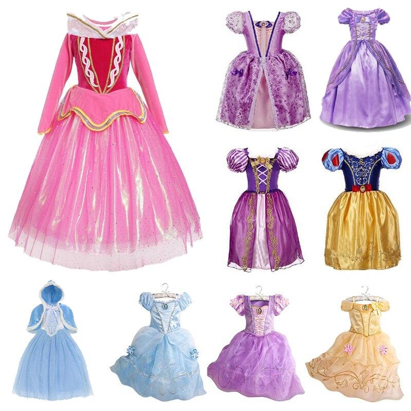 Kids Girls Princess Dress Fairytale Dress Up Cinderella Elsa Rapunzel Costume