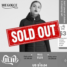 MIEGOFCE 2019 Spring And Autumn Womens Coat with Stand Collar Short Coat Womens Thin Windproof Knitted Sleeve Warm Jacket