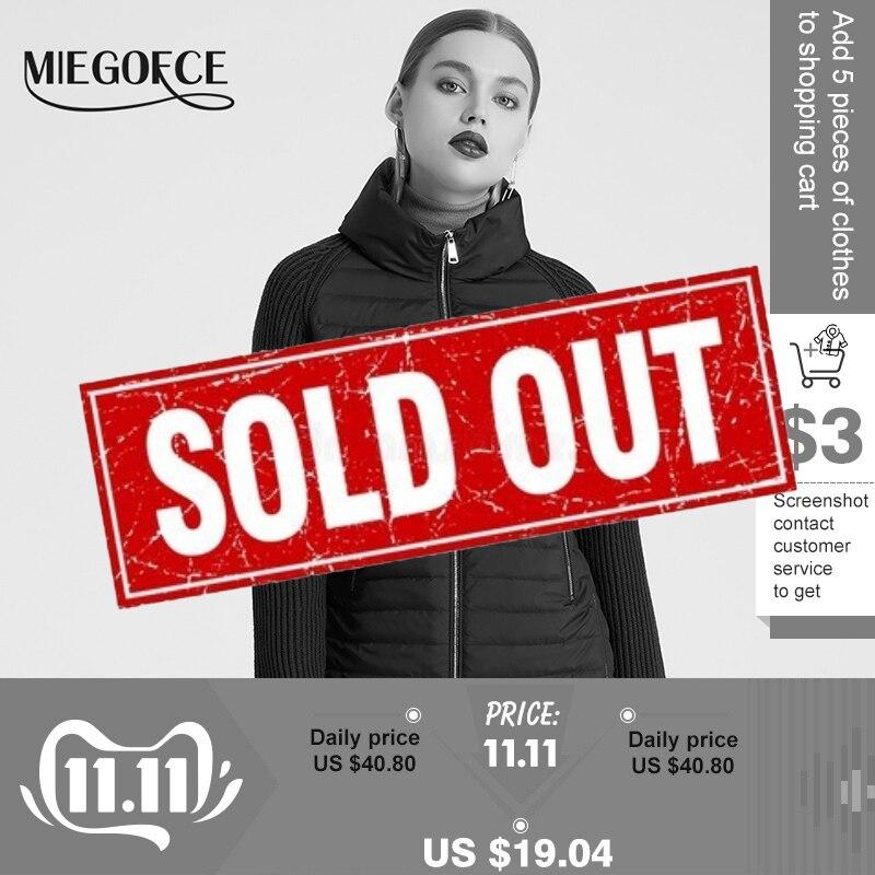 Miegofce 2019 봄과 가을 여성 코트 스탠드 칼라 짧은 코트 여성 얇은 windproof 니트 슬리브 따뜻한 자 켓베이식 쟈켓   -