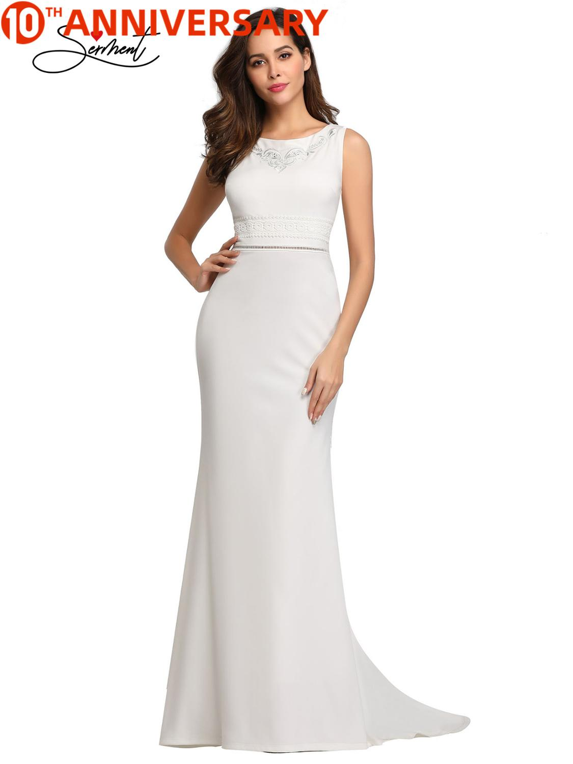 OLLYMURS New Elegant Woman Evening Gownv Pure White Round Neck Sleeveless Slim Tail Dress Suitable For Formal Parties