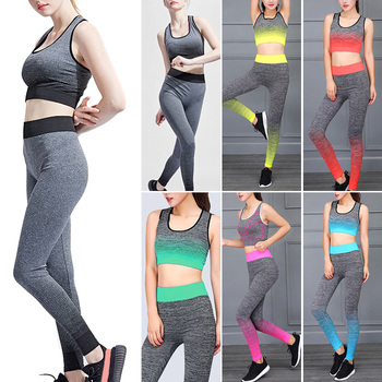 Yoga Set Women Sports Bra Top Leggings Pants Gym Sportswear Fitness Clothing Suit EDF88