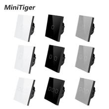 MiniTiger האיחוד האירופי/בריטניה תקן 1 כנופיית 1 דרך מגע מתג לבן זכוכית קריסטל לוח מגע מתג אור קיר רק מגע פונקצית מתג