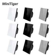 Сенсорный выключатель MiniTiger Европейского/британского стандарта, 1 клавиша, 1 канал, панель из белого хрустального стекла, сенсорный выключатель, настенный только сенсорный переключатель