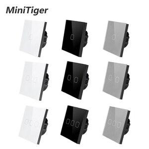 Image 1 - Сенсорный выключатель MiniTiger Европейского/британского стандарта, 1 клавиша, 1 канал, панель из белого хрустального стекла, сенсорный выключатель, настенный только сенсорный переключатель