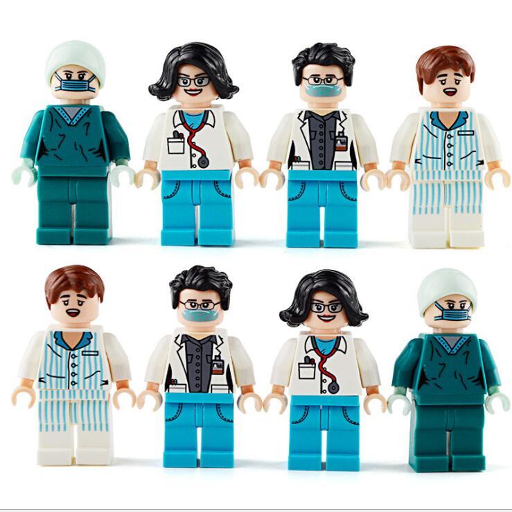 Doktorlar hemşireler aksiyon figürleri DIY montaj yapı taşı Mini rakamlar kız erkek gelin figürü oyuncak çocuk parti hediye oyuncaklar