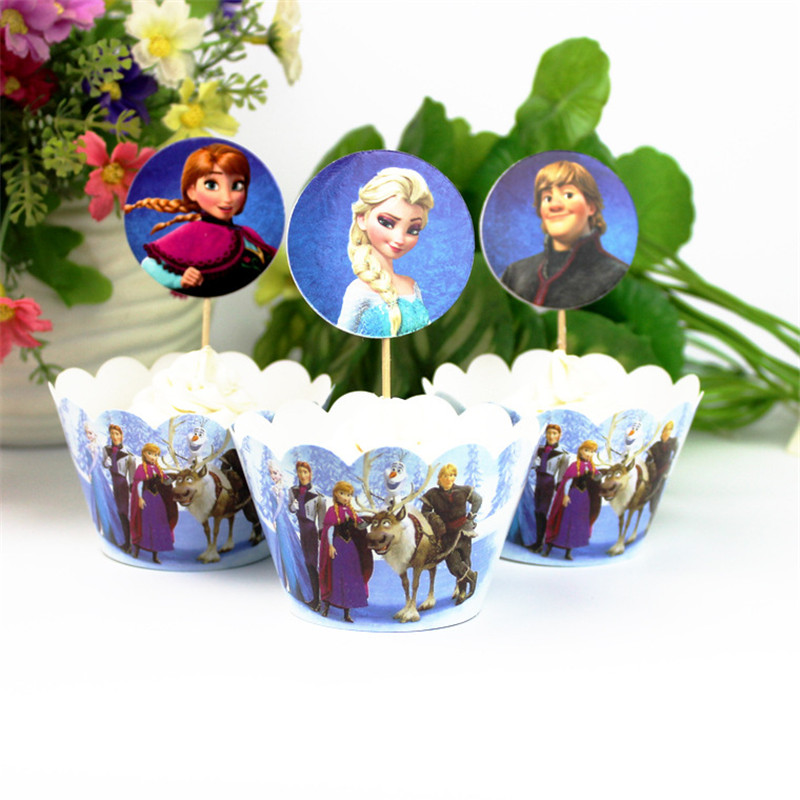 24Pcs/Pack Frozen Theme Cupcake Wrapper Cake Toppers Birthday Party Decorations Cake Decoration Kids Shower Party Supplies image