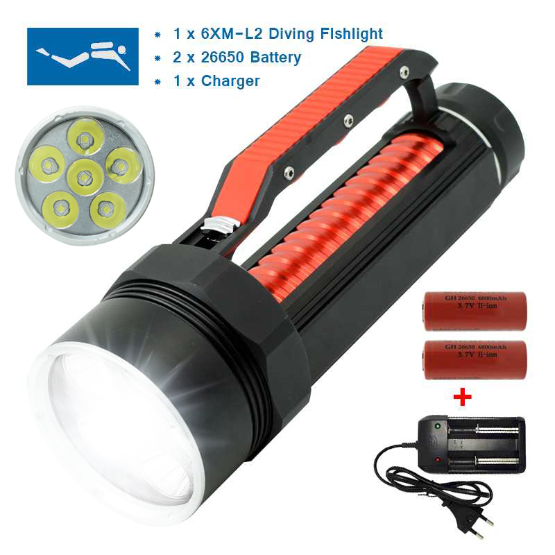 10000 Lumen Diving Flashlight LED Underwater Hunting Torch High Power Light Waterproof Flashlights 26650 Rechargeable Lamp