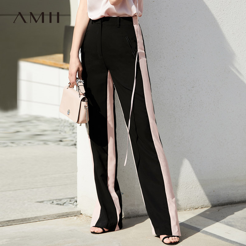Amii Minimalist Split Side Split Summer Women Loose High Waist Female Casual Long Pants 11980053