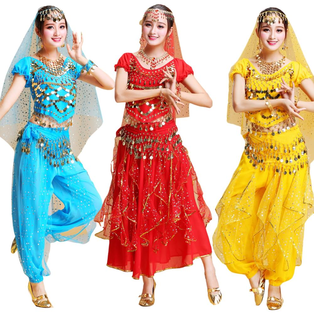 Belly Dance Costume Set 4pcs Professional Belly Dance Costume Set Indian Bollywood Clothes Adult Oriental Dance Costumes DQS2586