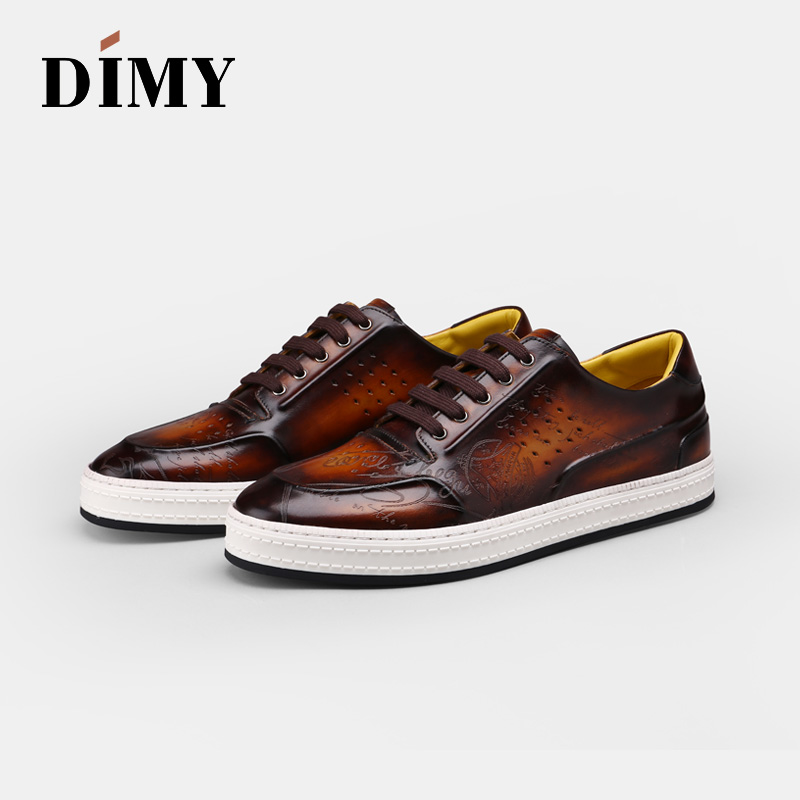 Dimy 2019 Handmade Custom Lace Lazy Shoes Summer Men's Leather Breathable Casual Shoes Brock England Wind