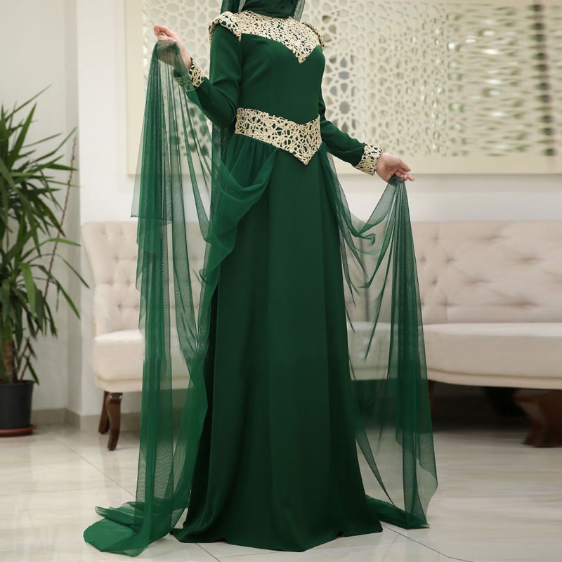 Real Sample Dubai Kaftan Appliqued Long Evening Gowns Caftan Abaya In Dubai Long Sleeve Arabic Muslim Mother Of The Brde Dress